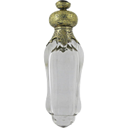 Bohemian Glass and Gilt Silver Perfume Bottle