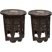 19th C. Pair Anglo-Indian Octogonal Carved Hardwood Tables