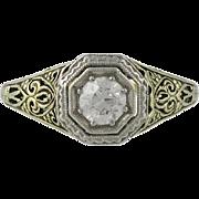 Platinum & 14K Yellow Gold Edwardian Filigree Diamond Ring - Red Tag Sale Item