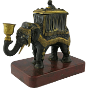 19th C Bronze Monkey Riding Elephant Candle Cigar Lighter