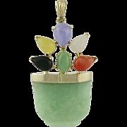 Vintage 14K Gold Jade And Gemstone Basket Pendant