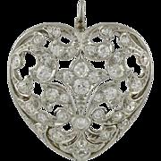 Edwardian Platinum on 18K Gold Diamond Heart Pin Pendant
