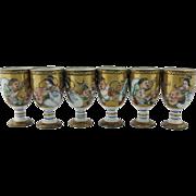 Six Japanese Kutani Porcelain Sake Cups