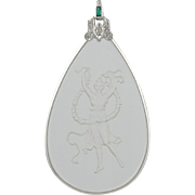 Art Deco Style Platinum & Gold Emerald Diamond Crystal Pendant