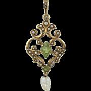 Krementz 14K Gold Cultured Seed Pearl and Peridot Lavalier Pendant