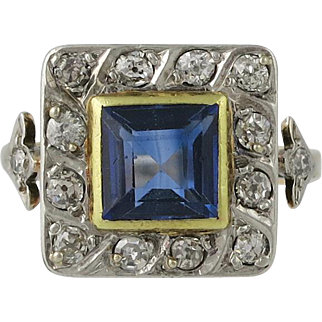 Victorian 14K Gold Diamond Synthetic Sapphire Ring