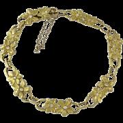 Art Nouveau French 18K Gold Floral Diamond Link Bracelet