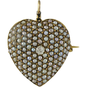 Victorian 14K Gold Cultured Seed Pearl Diamond Heart Pendant Watch Pin