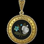 Victorian 18K Gold Pietra Dura Floral Pendant