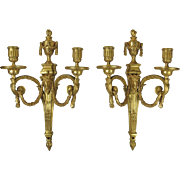 French Neoclassical Style Bronze 2 Light Sconces With Ram's Heads