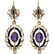 Victorian Revival 14K Gold Amethyst Enamel Earrings