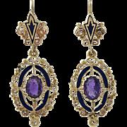 Victorian Revival 14K Gold Amethyst Enamel Earrings