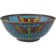 Vintage Chinese Plique A Jour Enamel Bowl With Dragonfly