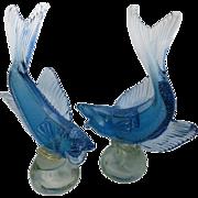 Pair Alfredo Barbini Murano Glass Fish