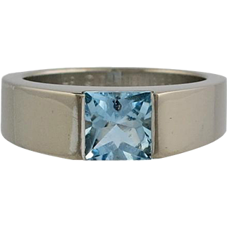 Cartier 18K White Gold Cabochon Aquamarine Tank Ring