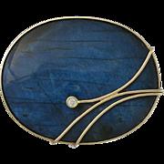 KAUNIS KORU Finland 14k Gold & Labradorite Pin/Pendant