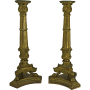 Pair Of French Gilt Bronze Charles X Neoclassical Candlesticks