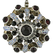 Victorian Austro Hungarian Silver Enamel Garnet Pin / Pendant