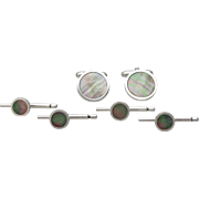 Sterling Silver and Abalone Cufflinks & Stud Set