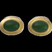 Antique 10K Gold and Jade Bean Back Cufflinks
