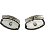 Art Deco 800 Silver MOP Enamel Cultured Seed Pearl Cufflinks