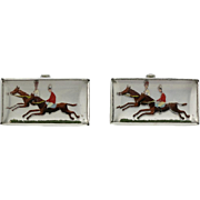 Vintage Sterling Reverse Crystal Race Horse Toggle Cufflinks - Red Tag Sale Item