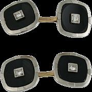 Art Deco Krementz 2 Sided 14K White Gold Onyx Diamond Cufflinks
