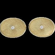 Vintage Larter Florentine Gold and Diamond Toggle Cufflinks