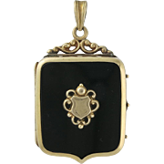 Victorian 14K Gold Onyx Two Sided Picture Locket