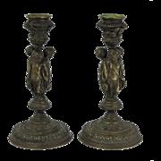 Continental Bronze Cherub Candlesticks Nineteenth Century