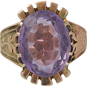 Arts & Crafts Period 14K Rose Gold and Amethyst Ring