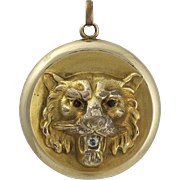 Victorian Gold Filled Repousse Lion's Head Picture Locket