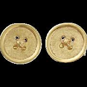 Vintage 14K Gold Toggle Back Button Form Cufflinks