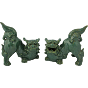 Pair Chinese Glazed Pottery Foo Dogs