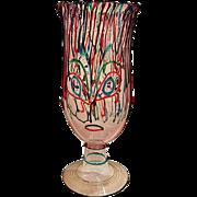 Tall Luigi Mellara Italian Figural Art Glass Vase