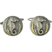 Early 20th C. Japanese Gold and Silver Seahorse Cufflinks