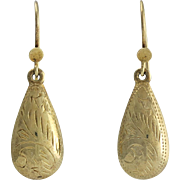 14K Gold Victorian Revival Engraved Tear Shaped Drop Earrings