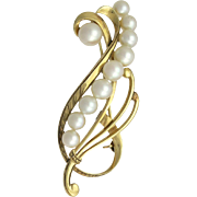 Vintage 14K Gold Mikimoto Cultured Akoya Pearl Brooch