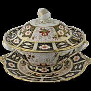 English Royal Crown Derby Porcelain Soup Tureen