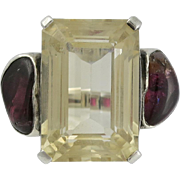 Fred Skaggs Modernist Sterling Citrine Tourmaline Ring