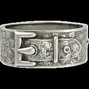 Victorian Engraved Sterling Silver Buckle Bangle Bracelet