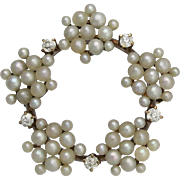 Art Nouveau 14K Gold Cultured Seed Pearl Diamond Circle Brooch - Red Tag Sale Item