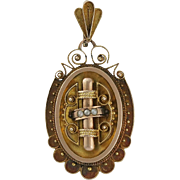 Victorian 12K Rose & Yellow Gold Picture Locket