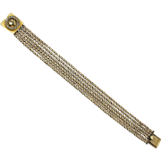 Victorian 14K Gold Link Bracelet with Diamond Cultured Seed Pearl Clasp