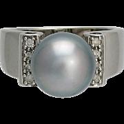 14K White Gold Diamond & Silver South Sea Cultured Pearl Ring