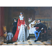 """Victor Loutrel """" Cavalier And Lady """" Oil Painting On Panel French 19th Century"""
