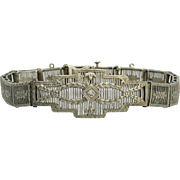 Art Deco 10K White Gold Filigree Diamond Bracelet