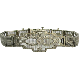 Art Deco 10K White Gold Filigree Diamond Bracelet