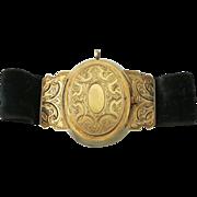 14K Gold Repousse Victorian Locket Bracelet