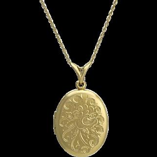 Victorian Revival 14K Gold Engraved Locket Necklace